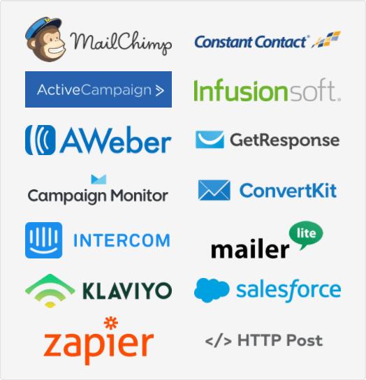 MailMunch werkt met MailChimp, ActiveCampaign, Constant Contact, Infusionsoft, AWeber, GetRespons, Campaign Monitor, ConvertKit, Intercom, MailerLite, Klaviyo, Salesforce, Zapier, HTTP Post
