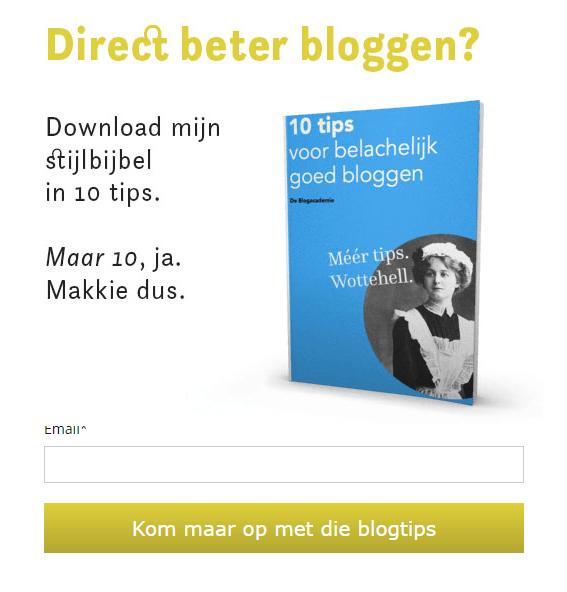 E-mail adressen verzamelen met gratis weggever - voorbeeld Blogacademie